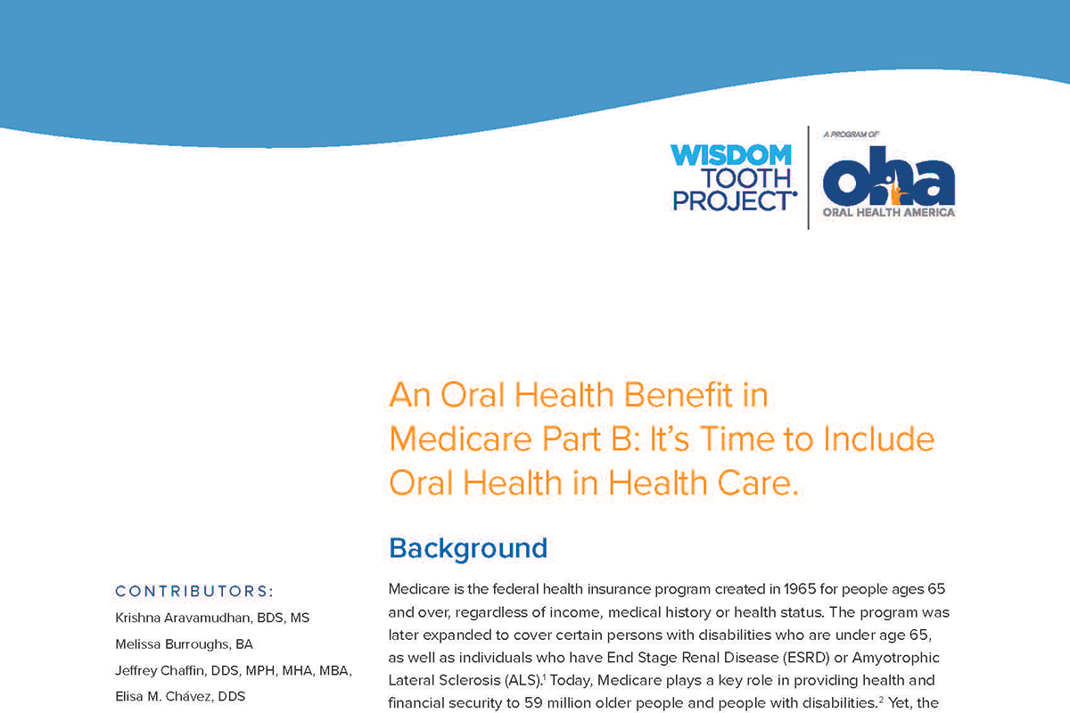 New White Paper on Importance of Oral Health Care Benefit for Older Adults