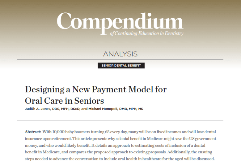 Designing a New Payment Model for Oral Care in Seniors